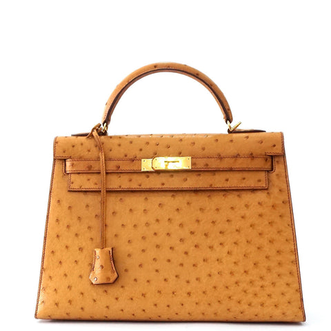 Hermes Kelly 32 Sellier Chestnut Ostrich GHW