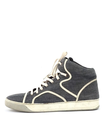 Lanvin Mid Top Grey and White Sneakers 9