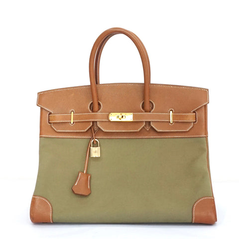 Hermes Birkin 35 Toile Olive Canvas Gold Crochevel GHW