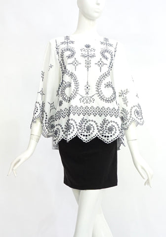Tory Burch White Top with Black Embroidery M