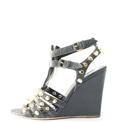 Balenciaga Gold Studded Wedge Sandals 38