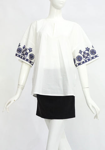 Tory Burch White Top with Navy Embroidery S