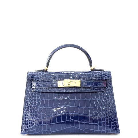 Brand New Hermes Kelly 20 Blue Saphire Shiny Alligator Gold Hardware