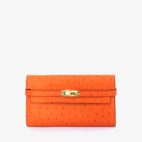Hermes Kelly Long Wallet Orange Ostrich GHW PRICE BY REQUEST