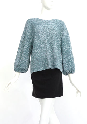 Chanel Blue Textured Baloon Sleeve Top 38