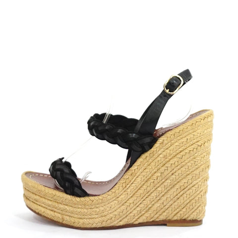 Valentino Black Twist Espadrille Wedge Sandals 36