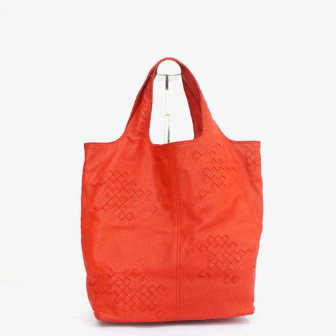 Bottega Veneta Intrecciato-Trimmed Perforated Shopper Tote
