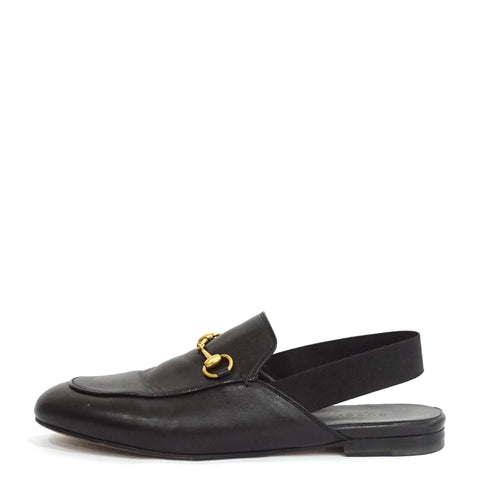 Gucci Black Princetown Sling-Back Loafers 38