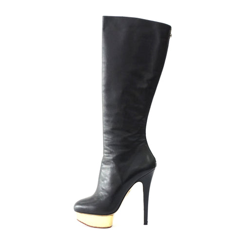 Charlotte Olympia Bonnie Black High Boots 40