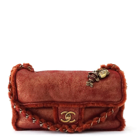 Chanel Red-Gold Shearling Flapbag