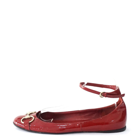 Gucci Red Flats with Ankle Strap 9.5B