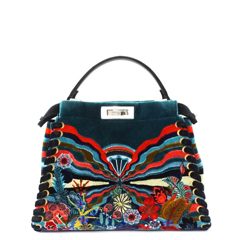 Fendi Limited Edition Fur Embroidered Blue Peekaboo Bag