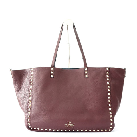 Valentino Reversible Maroon-Navy Studded Shopper Bag