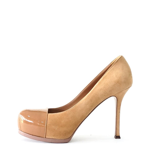 YSL Tribtoo Beige Suede with Beige Patent Pumps 39.5