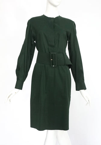 Celine Green Long Sleeved Shirt Dress 38