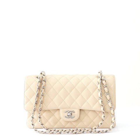 Chanel Beige Caviar Medium Double Flap Bag PHW