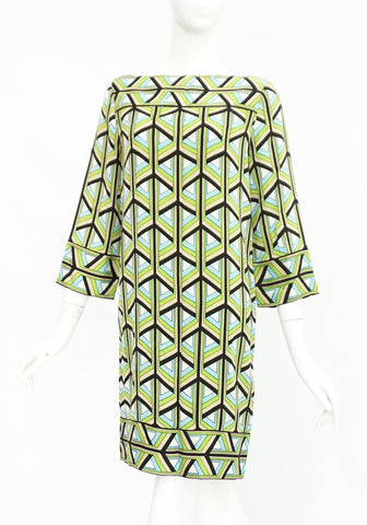 Diane Von Furstenberg Green Pattern Dress 4