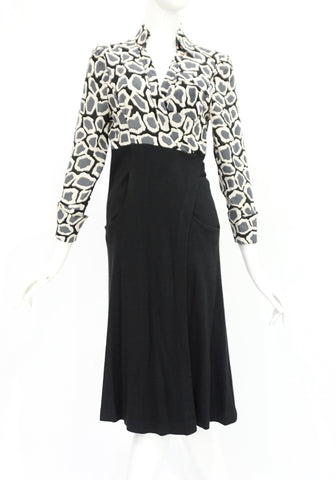 Diane Von Furstenberg Grey Pattern Black Dress 6
