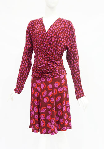 Diane Von Furstenberg Pink Flower Top and Skirt Set