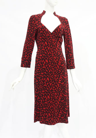 Diane Von Furstenberg Lips Red and Black Wrap Dress 6