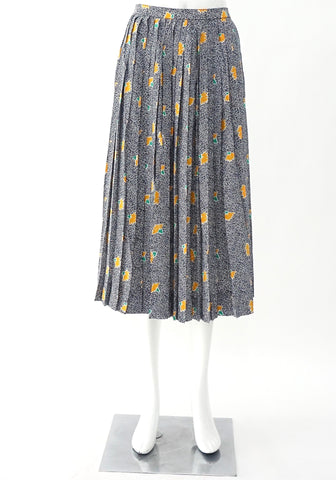 Celine Blue Yellow Printed Vintage Skirt 38
