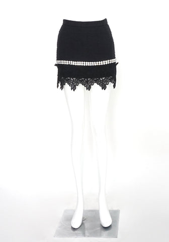 Dolce & Gabbana Black Tweed Skirt with Diamond Details