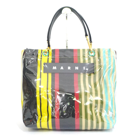 Marni Multicolor Striped Medium PVC Tote Bag