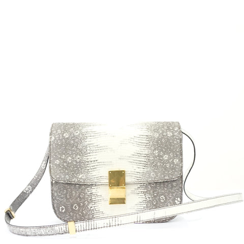 Celine Box White Ombre Lizard GHW