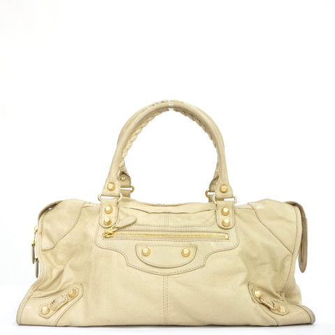 Balenciaga City Beige with Gold Hardware