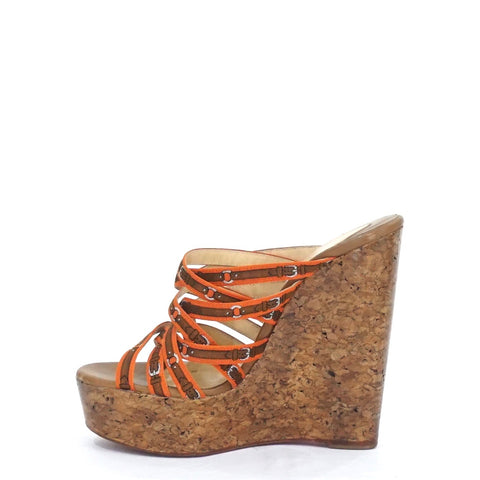 Christian Louboutin Wedges Orange Ribbon 37.5