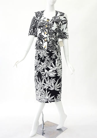 Celine Black And White Floral Vintage Two Piece Size 40