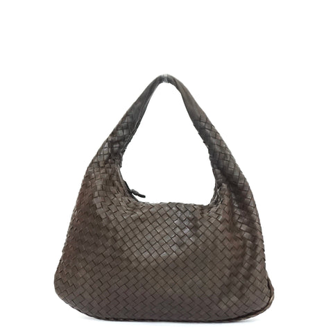 Bottega Veneta Intrecciato Woven Dark Brown Tote Bag