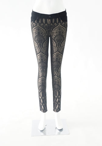 Seven Mankind Black and Gold Printed Jeans 26