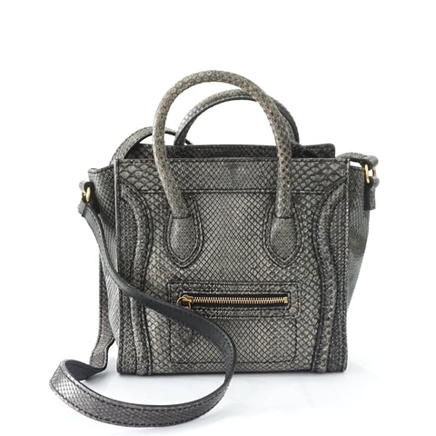 Celine Nano Luggage Grey Python Bag