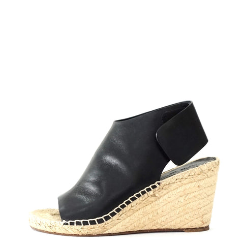 Celine Black Wedge Espadrilles Sandals 38
