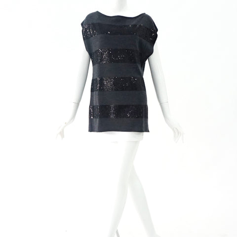 Alice+Olivia Black and Gray Sequined Sleeveless Sweater