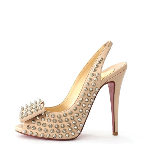 Christian Loubotin Spike Slingback Sandals 37.5