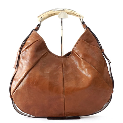 YSL Brown Leather Mombasa Horn Bag