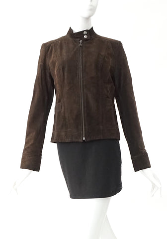 Calvin Klein Brown Suede Leather Jacket S