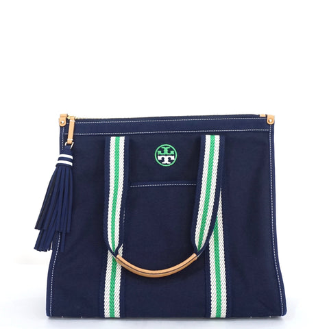 Tory Burch Blue Canvas Tote Bag