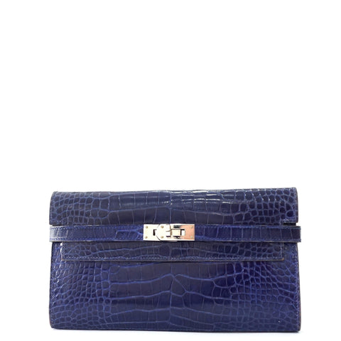 Hermes Kelly Blue Electric Croco Long Wallet