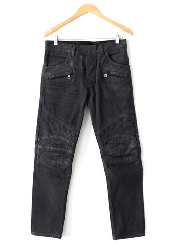 Balmain Grey Skinny Bikers Pants