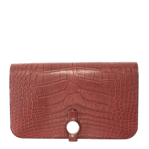 Hermes Brand New Bourgogne Matt Alligator Dogon Long Wallet