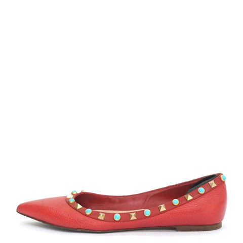 Valentino Rockstud Rolling Red Pointy Flats 36,5