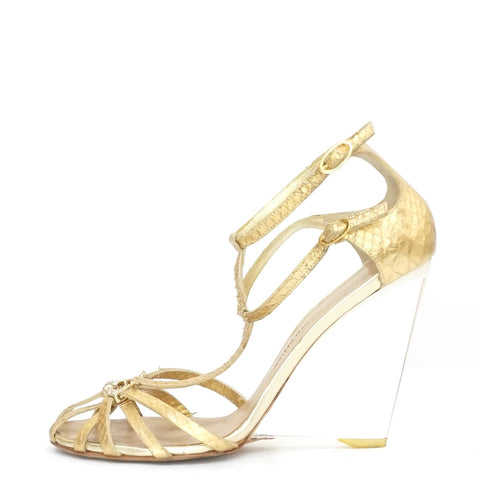 Giuseppe Zanotti Python Gold Clear Acrylic Wedge Sandals 39