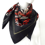 Chanel Red and Black Scarf