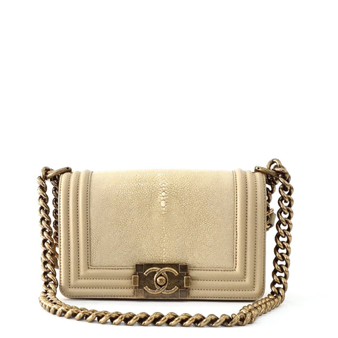 Chanel Boy Beige Stingray