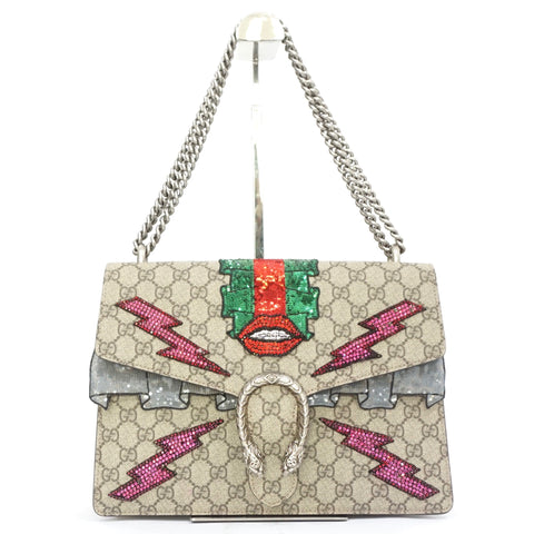 Gucci GG Supreme Dionysus Sequin-Embroidered Patch Shoulder Bag