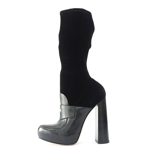 Alexander Wang Black Leather Suede Boots 38