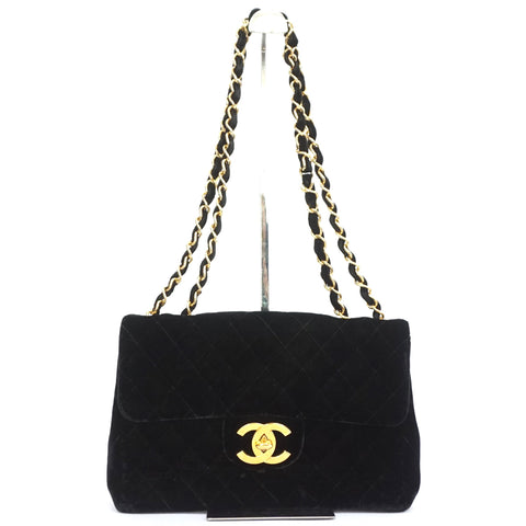 Chanel Vintage Black Velvet Jumbo Flapbag with Gold Hardware